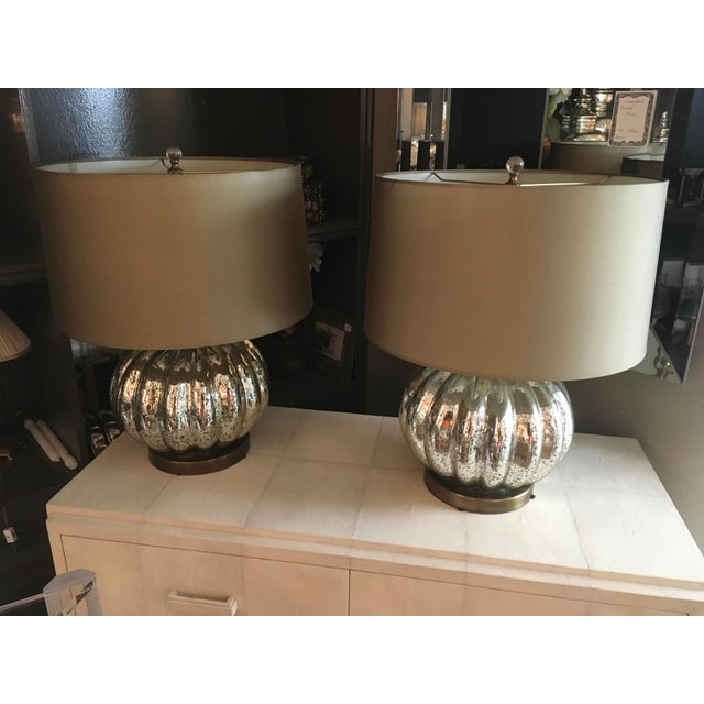 Modern Pair of Pumpkin Shaped Mercury Glass Lamps For Sale - Image 3 of 6