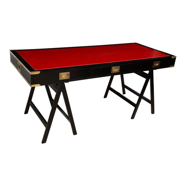 French Ebonized Campaign Desk Red Leather Top And Applied Brass For Sale