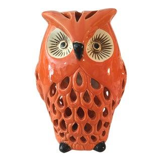 Contemporary Orange Owl Figurine For Sale