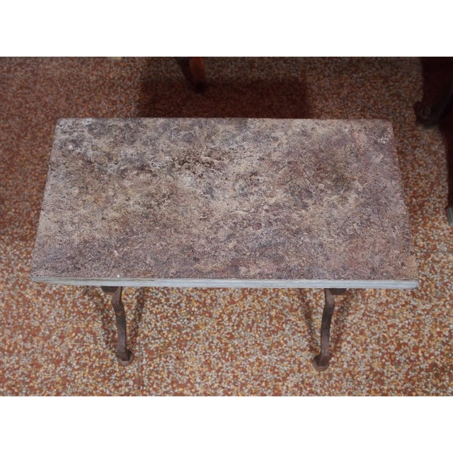 French Wrought Iron and Stone Top Coffee Table - Image 3 of 6