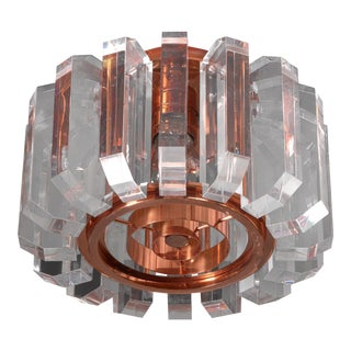 Set of three plexiglass and copper ceiling lamps, Germany, 1950s For Sale