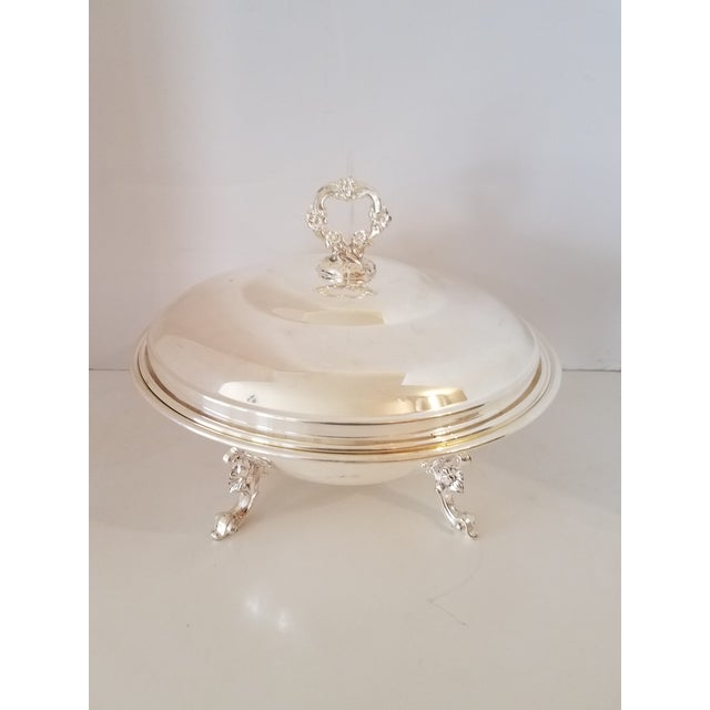Metal Vintage 1940s Silver-Plate Footed Covered Casserole W/ Pyrex Ovenware Insert For Sale - Image 7 of 7