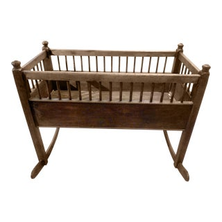 Beautiful Bleached Pine Baby Cradle For Sale