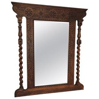 1990s Vintage Carved Antique Oak Mirror For Sale