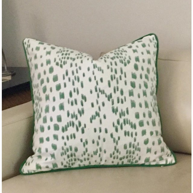 Cotton Brunschwig & Fils Les Touches Green and Ivory Pillow Cover For Sale - Image 7 of 7