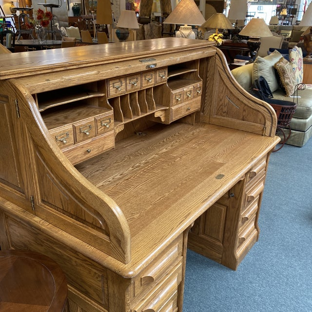 Mid 20th Century Jefferson Oak Roll Top Desk For Sale - Image 4 of 13