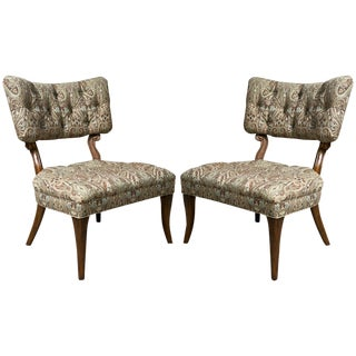 Kravet James Mont Style Lounge Chairs - Pair For Sale