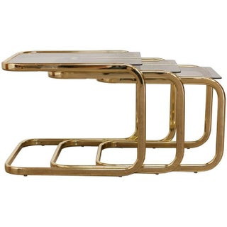 Milo Baughman Brass & Glass Nesting Tables - Set of 3