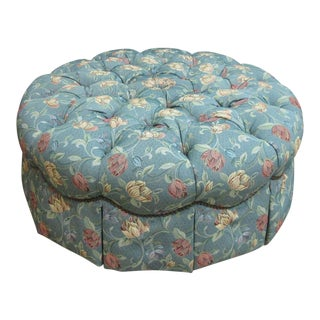 Henredon Tufted Round Schoonbeck Hobb Nail Ottoman Foot Stool Bench Seat For Sale