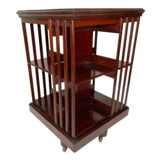 Antique Victorian English Mahogany Revolving Bookcase Circa 1890