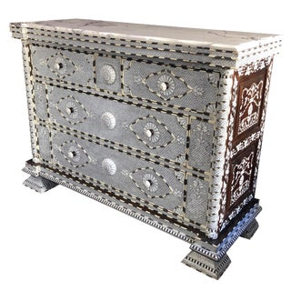 Moorish All White Mother of Pearl Inlay Dresser For Sale