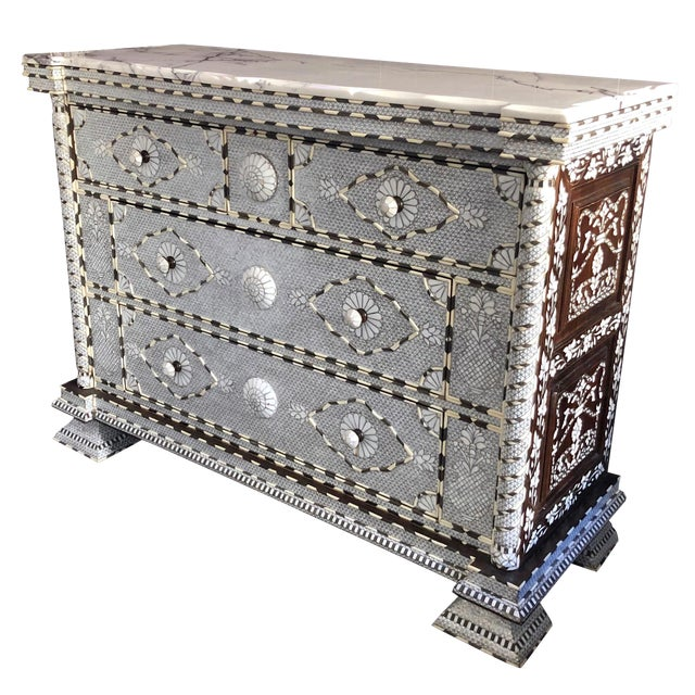 Moorish All White Syrian Mother of Pearl Inlay Dresser For Sale
