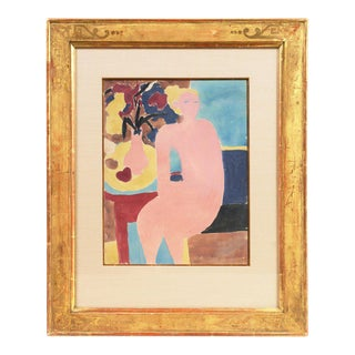 1955 Victor DI Gesu Seated Nude Painting For Sale