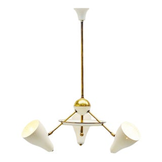 Italian Ceiling Lamp White and Brass Shades 1950 For Sale