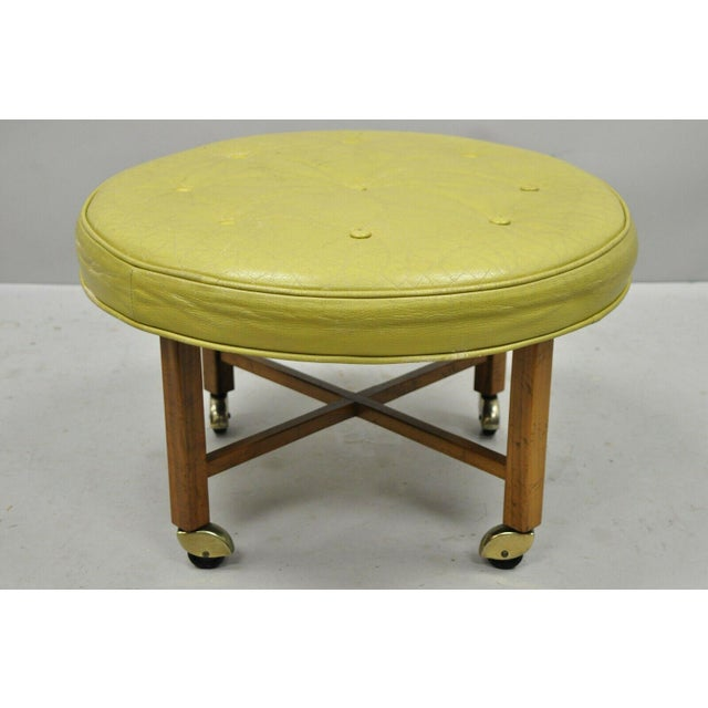 Vintage Mid Century Baker Milling Road Round Leather & Walnut Ottoman For Sale - Image 10 of 10