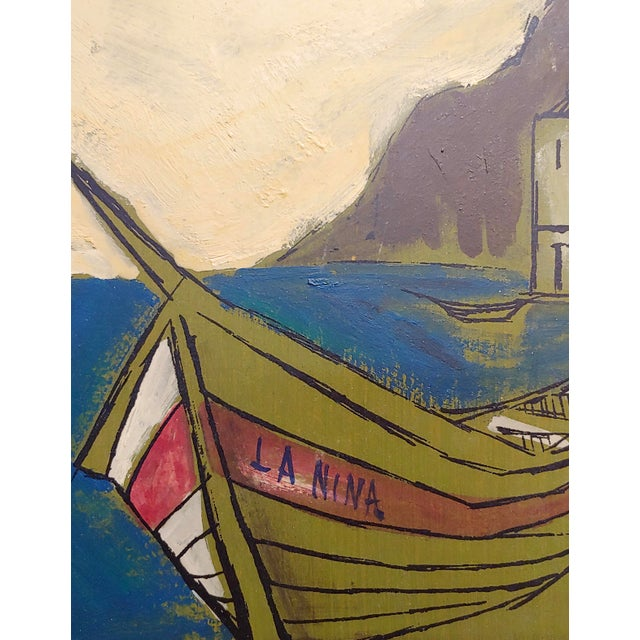 Benet -Fishing Boat Ashore - 1960s French Oil Painting For Sale - Image 4 of 7