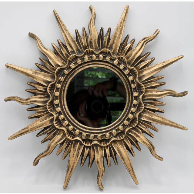 Resin Antique French Sunburst Mirror For Sale - Image 7 of 13