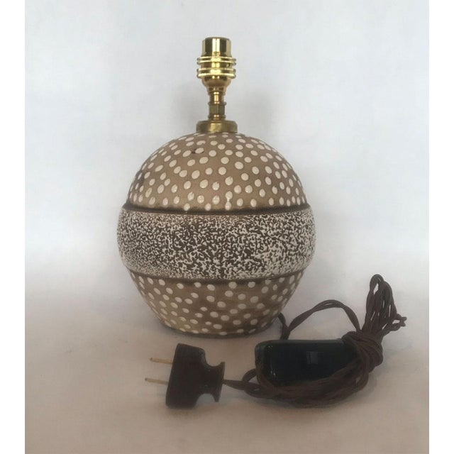 Contemporary Mid-Century Studio Pottery Lamp with Decorative Surface For Sale - Image 3 of 8