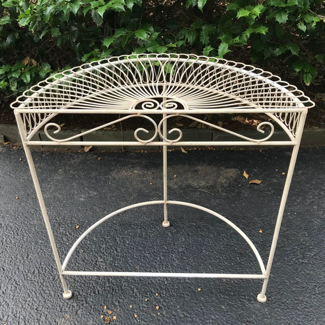 1960s Vintage Wrought Iron Demi Lune Table With Original Paint For Sale - Image 5 of 11