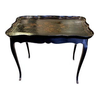 Louis XV Style Table With Chinese Lacquered Tray Top For Sale