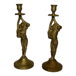 Brass Figural Candle Holders - A Pair For Sale