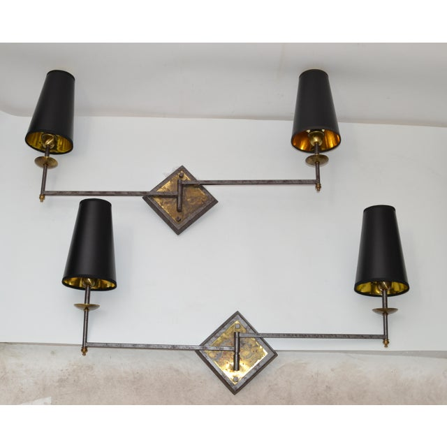 French Mid-Century Modern Metal & Brass Swing Arm Sconces, Wall Lights - Pair For Sale - Image 12 of 13