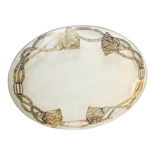 Vintage Oval Transfarent Glass Tray With Four Gilt Tassel Decoration For Sale