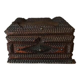 19th Century Antique Folk Art French Tramp Box For Sale