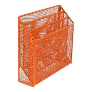 Mid Century Modern Orange Metal Desk Organizer Office Inbox For Sale