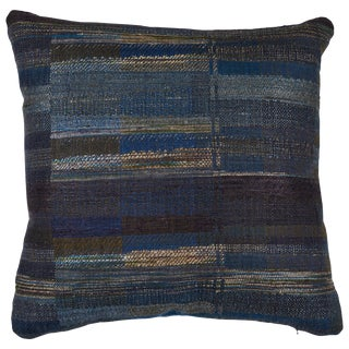 Indian Handwoven Blue / Green Stripe Pillow For Sale