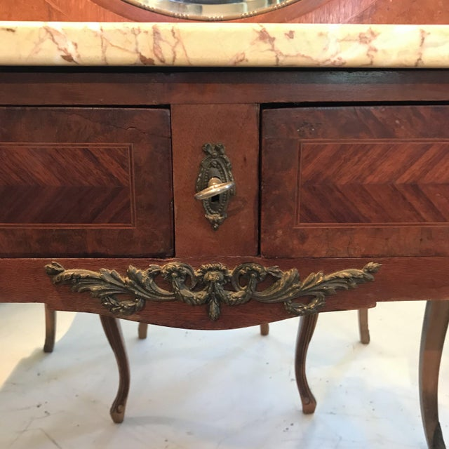 Early 20th Century French Louis XVI Style Marble Top Dressing Table or Vanity For Sale - Image 4 of 12