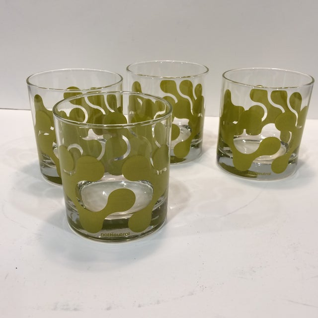 Op Art Avocado Green Lo-Ball Glasses - Set of 4 - Image 2 of 11