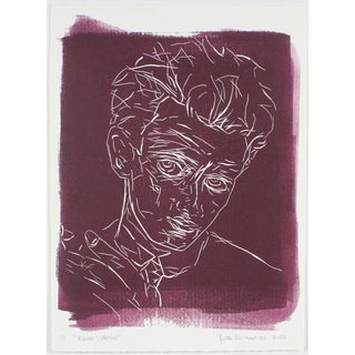 """Egon Schiele"" Block Print by Rob Delamater For Sale"