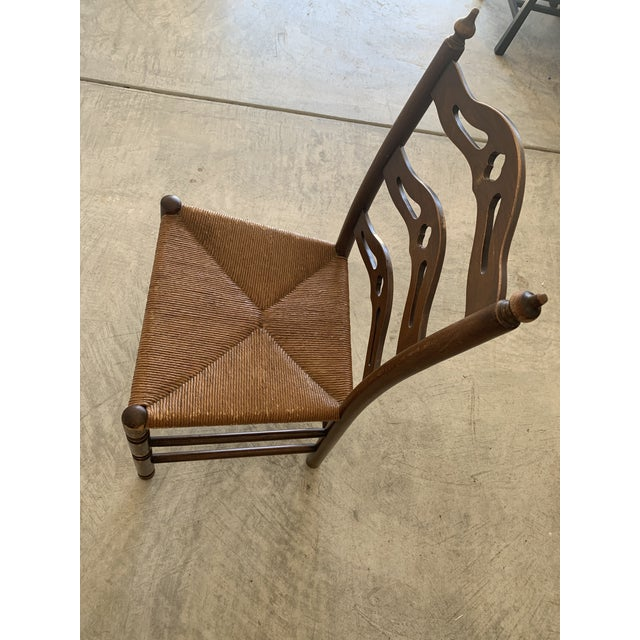 Early 20th Century Early 20th Century French Country Carved Pierced Ladder Back Chair With Rush Seat For Sale - Image 5 of 7