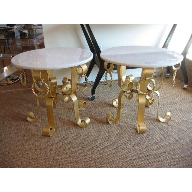 Pair of Vintage Italian Gold Leaf Iron and Marble Top End / Side Tables For Sale In Miami - Image 6 of 10