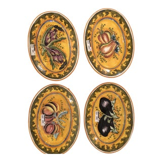 1980s Vintage Italian Hand Painted Oval Decorative Serving Plates- Set of 4 For Sale