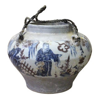 Chinese Blue White Red Porcelain People Scenery Round Fat Body Vase Jar