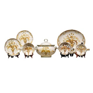 Gold & Green Pattern Quimper Dinnerware