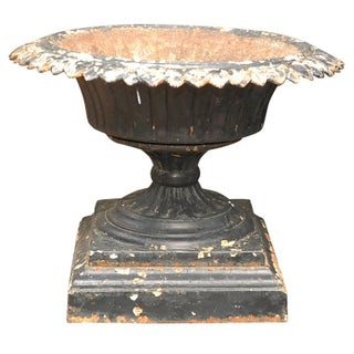 English Black Iron Urn For Sale