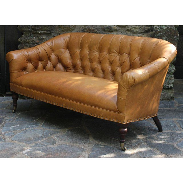 Early 21st Century Edwardian Style Buttoned Back Leather Sofa For Sale - Image 5 of 8