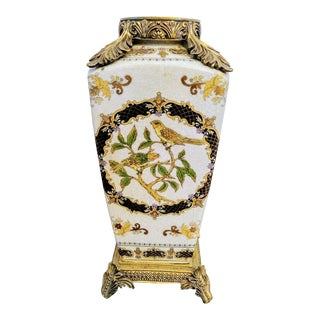 Antique Porcelain Brass Heavy Tall Chinoiserie Bird Vase Umbrella Holder For Sale