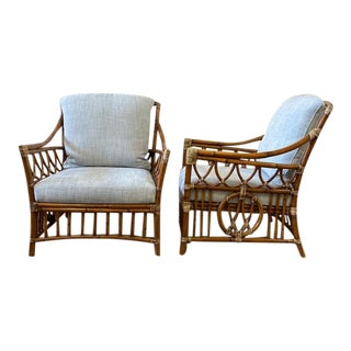 Vintage Palecek Bamboo & Hide Wrapped Chairs - a Pair For Sale