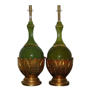 Marbro Italian Ceramic Table Lamps Artichoke Green For Sale