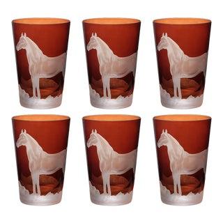 Horse Tumblers, Mahogany, Set of 6 For Sale