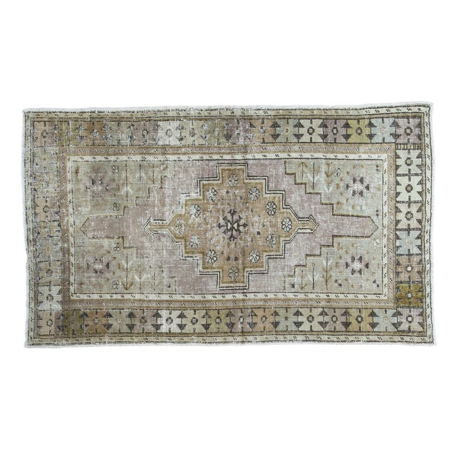 "Distressed Oushak Rug Runner - 3'5"" x 5'9"" - Image 1 of 5"