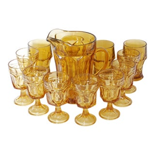 Viking Mid-Century Amber Glass Pitcher and Glass Set - 13 Pc.
