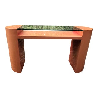 Vintage Console Table Lacquer and Glass Boho 80's Deco For Sale