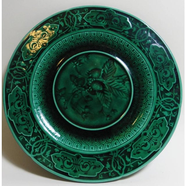Pair of green Majolica plates signed Sarreguemines Majolica, circa 1870. Fine quality for this two plates one with...