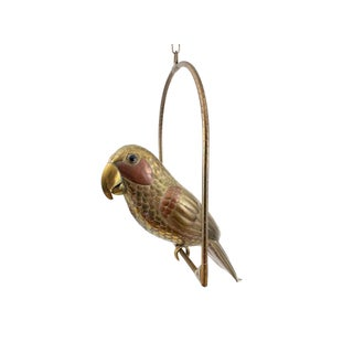 1960s Sergio Bustamante Mixed Metal Brass and Copper Hanging Parrot Sculpture For Sale