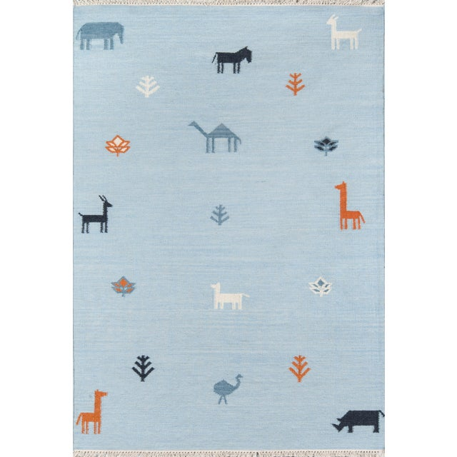 "Erin Gates by Momeni Thompson Porter Blue Hand Woven Wool Area Rug - 3'6"" X 5'6"" For Sale - Image 9 of 9"